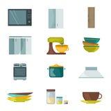 Het huismateriaal van keukentoestellen het koken het keukengereivector van de huishouden binnenlandse machine Royalty-vrije Stock Afbeelding