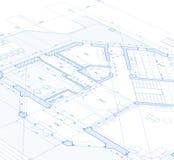 Het huisplan van de blauwdruk Royalty-vrije Stock Foto