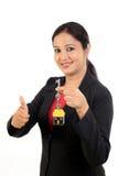 Het huissleutel van de bedrijfsvrouwenholding Stock Afbeelding