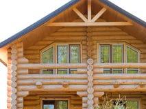 Het huisstructuur van het logboek van de houten buitenkant van het de bouwhuis Stock Fotografie