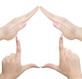 Het huissymbool van de hand stock afbeeldingen