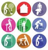 Zes pictogrammen voor huishoudkunde royalty vrije stock fotografie afbeelding 29906577 - Huisverbetering m ...