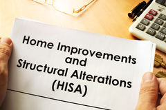 Het huisverbeteringen en Structurele Wijzigingen HISA stock foto