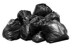 het huisvuil van de bakzak, Bak, Afval, Huisvuil, Vuilnis, Plastic die Zakkenstapel op achtergrondwit wordt geïsoleerd royalty-vrije stock afbeeldingen
