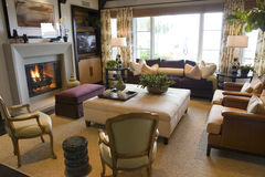 Het huiswoonkamer van de luxe. Royalty-vrije Stock Foto