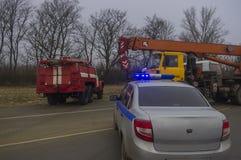Het hulpdienstenwerk aangaande incident stock afbeeldingen