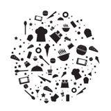 Het hulpmiddel en het voedselpictogrammen van de vectorenkeuken Royalty-vrije Stock Afbeeldingen
