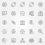 Het huren en lenings geplaatste pictogrammen Royalty-vrije Stock Afbeeldingen