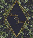 Het huwelijk bloemen nodigt kaart uit Het vectorwaterverf groene bosblad, varen, vertakt zich bukshout, buxus, eucalyptus, brunia royalty-vrije illustratie