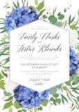 Het huwelijk bloemen nodigt, sparen de datum uit, dankt u, rsvp, het ontwerp van de etiketkaart met elegante blauwe hydrangea hor stock illustratie
