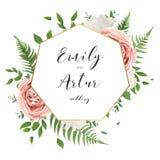Het huwelijk bloemen nodigt sparen het ontwerp van de datumkaart met romige whit uit vector illustratie