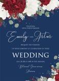 Het huwelijk bloemen nodigt, uitnodiging sparen het ontwerp van de datumkaart met uit vector illustratie