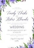 Het huwelijk bloemen nodigt, uitnodiging, sparen het het ontwerpverstand van de datumkaart uit stock illustratie