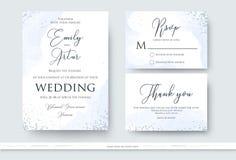 Het huwelijk nodigt, dankt u uit, rsvp kaartontwerp met samenvatting wordt geplaatst die wa royalty-vrije illustratie