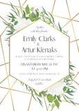 Het huwelijk nodigt, sparen het gevoelige ontwerp van de datumkaart met natuurlijk uit royalty-vrije illustratie