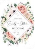 Het huwelijk nodigt, uitnodiging, sparen het bloemenontwerp van de datumkaart uit Roze nam bloem, blozen stoffige Anemoonbloemen, vector illustratie