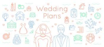 Het huwelijk plant dunne lijn vlakke achtergrond Royalty-vrije Stock Fotografie