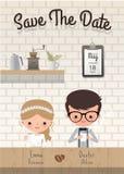 Het huwelijk van de paarkoffie bewaart de kaart van de datumuitnodiging stock illustratie