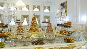 Het Huwelijk van de suikergoedbar, suikergoedbuffet, heerlijke Suikergoedbar bij een huwelijk Stock Foto