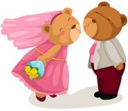 Het huwelijk van de teddybeer Stock Foto