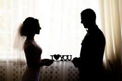 Het huwelijk van het liefdesilhouet stock afbeeldingen