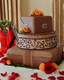 Het huwelijkscake 2 van de chocolade Stock Fotografie