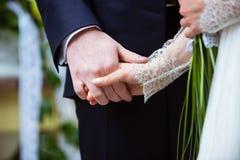 Het huwelijksdag van de bruid en van de bruidegom Stock Fotografie