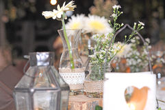 Het huwelijksdag van de eettafeldecoratie Royalty-vrije Stock Foto's