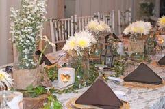 Het huwelijksdag van de eettafeldecoratie Royalty-vrije Stock Afbeeldingen