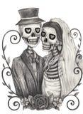 Het huwelijksdag van de schedelkunst van de doden Stock Foto