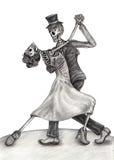 Het huwelijksdag van de schedelkunst van de doden Stock Afbeelding