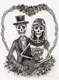 Het huwelijksdag van de schedelkunst van de doden Hand die op papier trekken Stock Fotografie