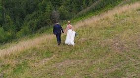 Het huwelijkspaar loopt dichtbij bergcanion stock videobeelden