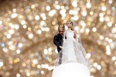 Het huwelijkspop van het paar met bokeh Royalty-vrije Stock Afbeeldingen
