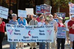Het huwelijksprotest van het zelfde-geslacht Stock Foto