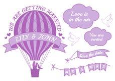 Het huwelijksuitnodiging van de hete luchtballon, vector Stock Afbeeldingen