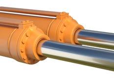 Het hydraulische systeem industriële geïsoleerde 3d illustratie van de machinezuiger Royalty-vrije Stock Fotografie
