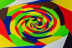 Het hypnotiseren van abstracte kleurrijke wervelingsachtergrond Acrylart. Het verdraaien, roterende lijnen, veelkleurige manier M Royalty-vrije Stock Foto