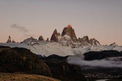 Het Iconische Onderstel FitzRoy bij Zonsopgang in Patagonië Argentinië royalty-vrije stock afbeeldingen