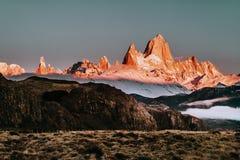 Het Iconische Onderstel FitzRoy bij Zonsopgang in Patagonië Argentinië royalty-vrije stock foto