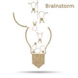Het idee conceptuele brainstorming van de jute creatieve gloeilamp Stock Afbeelding