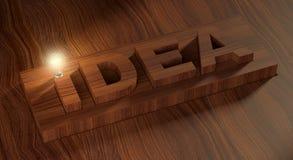 Het idee en de gloeilamp Stock Foto