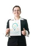 Het idee van de bedrijfsvrouwenholding lightbulb Stock Afbeelding
