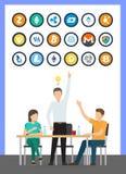 Het Idee van de Bitcoinmunt van Mannelijke Conferentievector royalty-vrije illustratie