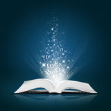 Het idee van de tekst op open wit boek stock foto