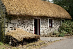 Het Iers met stro bedekt Plattelandshuisje Stock Fotografie
