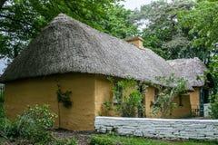 Het Iers met stro bedekt roofed plattelandshuisje stock foto's
