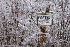 Het ijs behandelde gepost teken stock afbeeldingen