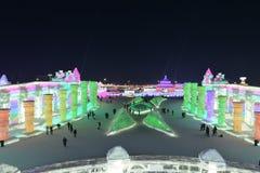 Het Ijs en de Sneeuwbeeldhouwwerkfestival 2018 van Harbin Internationaal Stock Afbeelding
