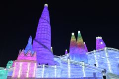 Het Ijs en de Sneeuwbeeldhouwwerkfestival 2018 van Harbin Internationaal Royalty-vrije Stock Afbeelding